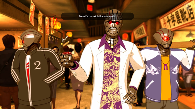 TOLDJA there were robot yakuza wannabes! And you should probably press ESC to ditch the series.