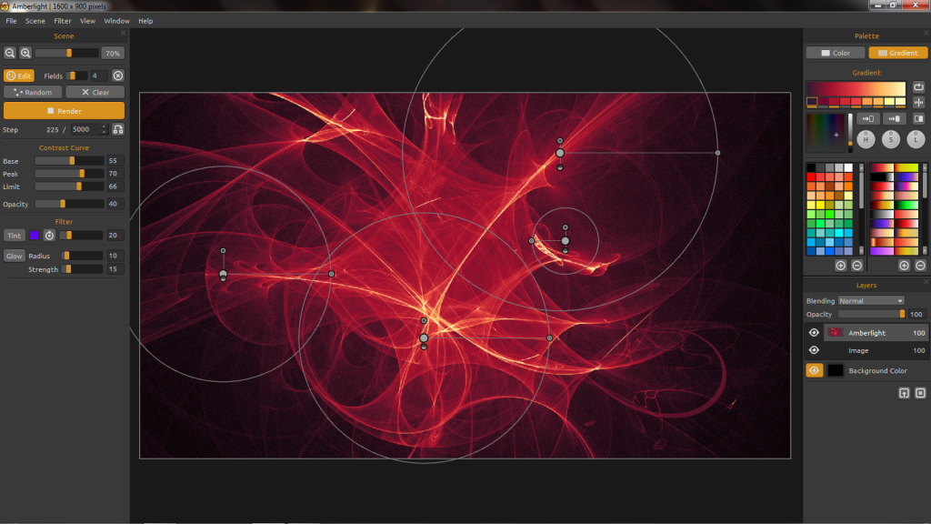 Amberlight's UI. Note the control circles in the image – that's for direct manipulation.